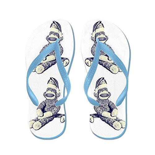 Cafepress Grunge Jul Sockmonkey - Flip Flops, Roliga Rem Sandaler, Strand Sandaler Caribbean Blue