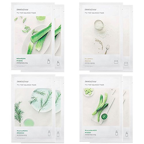 (Innisfree My Real Squeeze Mask - Best 4 Type Combo Mask Pack of 8 (Cucumber, Tea Tree, Aloe, Rice))