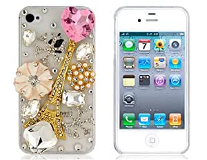 3D Crystal Decorated Eiffel Tower Pattern Protective Case for iPhone 4/4S