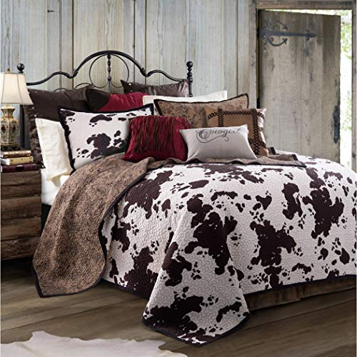 L&M 3 Piece Ivory White Brown Cowhide Quilt King Set, Dark Russet Chocolate Cow Print Bedding Calf Pattern Country Dairy Farm Animal Ranch Themed Western, Reversible Paisley Cotton