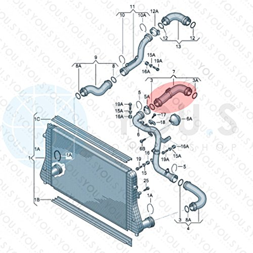 55//55 mm Turboschlauch Ladeluftschlauch Innendurchmesser ca 1K0145838P