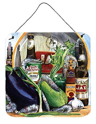 Caroline's Treasures Eggplant and New Orleans Beers Aluminum Metal Wall or Door Hanging Prints, 6 x 6, Multicolor