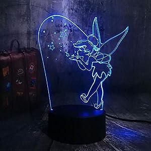 CYJQT Lumière De Nuit 3D Émotion Pour Enfants Lumière Peter Pan Led Night Light Fée Clochette Figure Changement De Couleur Bébé Sommeil Night Light Chambre Décoration Led Fairy Light Princess 5