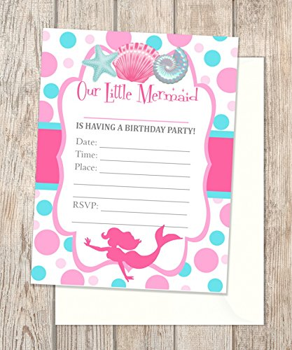 amazon com mermaid party fill blank in invitations flat cards set