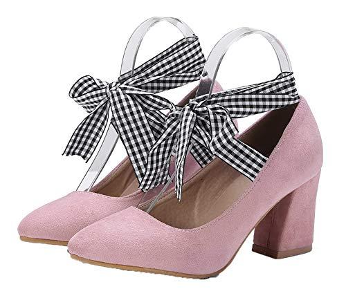 Tacco AgooLar GMMDB007200 Trafilatura Flats Ballet Donna Puro Allacciare Medio Rosa EETHPprq