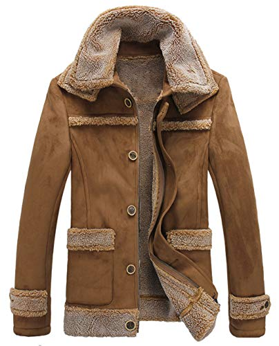 chouyatou Men's Winter Warm Dual Fur-Collar Sherpa Lined Suede Leather Barn Jacket (Small, Camel)