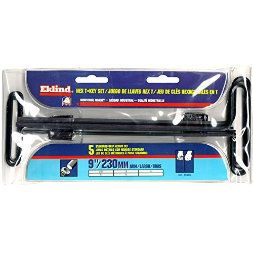 EKLIND 35195 Std Grip Hex T-Key Allen Wrench - 5pc Set Metric MM Sizes 2.5-6 (9In Shaft)