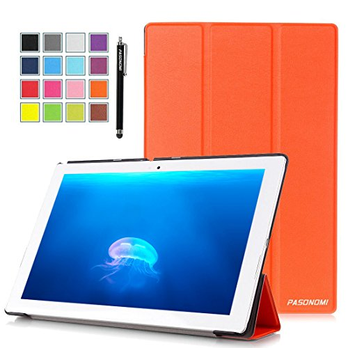 Sony Xperia Z4 Tablet Case, Pasonomi® Ultra-Slim and Ultra-light PU Leather Folio Case Stand Cover With Smart Cover Auto Wake / Sleep Feature for Sony Xperia Z4 Tablet-PC 10.1 inch (Slim Series Orange)