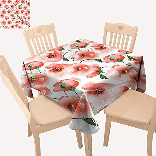 UHOO2018 Fitted Polyester Tablecloth  Pattern Twigs Bouquet Ornament Color Classic Square/Rectangle Washable for Tablecloth,52x 52 inch
