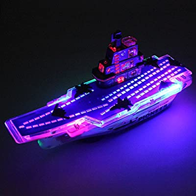 Easyflower Kids Loved Toys Gift LED Luminous Toy Flashlight Music Electric Aircraft Carrier Army Model Children Gifts(Red)