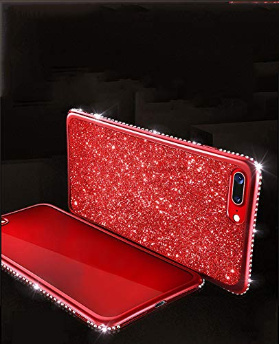 Bling Glitter Case for iPhone Xs,iPhone X Case,Gostyle Shiny Diamond Crystal Rhinestone Ultra Thin Soft Silicone TPU Back Cover,Luxury Plating Frame Bumper Shockproof Cover-Rose Gold