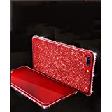 Bling Glitter Case for iPhone XR,Gostyle Shiny Diamond Crystal Rhinestone Ultra Thin Soft Silicone TPU Back Cover,Luxury Plating Frame Bumper Shockproof Cover for iPhone XR-Red