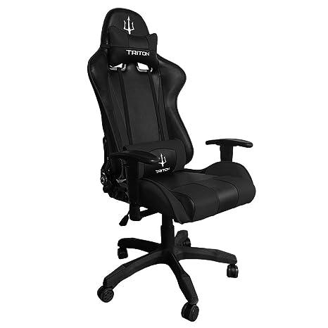 TRITON p050-f1-bb Gaming Chair-sedia, Piel sintética, Negro/