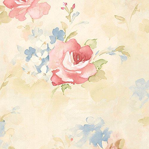 (Manhattan comfort NWAB42418 Waterbury Series Vinyl Watercolor Roses Design Large Wallpaper Roll, 20.5