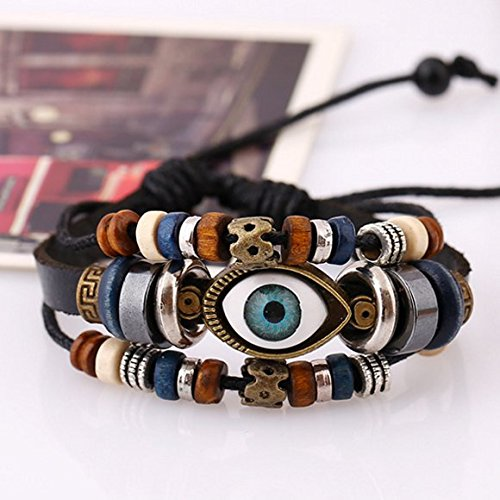 Turkey blue eyes leather bracelet men and women couple models can be adjusted s jewelry wholesale supermarket