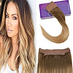"""LaaVoo 16"""" Flip on Invisible Wire Hair Extensions For Thin Hair Remy Human Hair Colorful LightBrown Fading to Dark Golden Blonde No Glue No Clips Halo on Human Hair Extensions 80 Grams"""