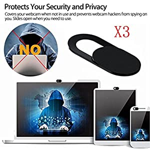Sliding Webcam Cover for Laptop and Mobile, Internet Security and Privacy, Tuscom Ultra Thin Camera Cover Sticker Skin for Computer MacBook Tablet and Cellphone, Black (3-Pack)
