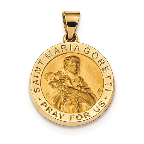 (14K Yellow Gold Hollow St. Maria Goretti Medal Charm Pendant)