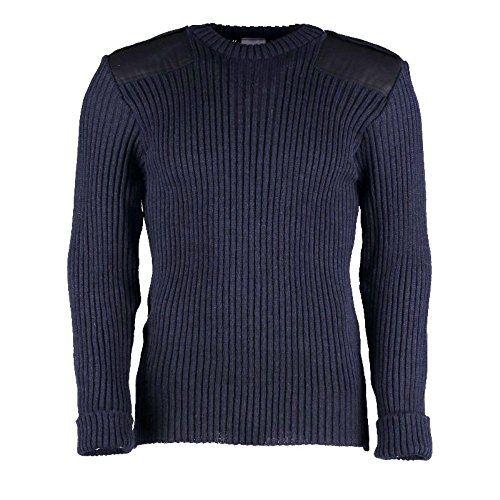 British Commando Sweater Woolly Pully CREW Neck with Epaulets NAVY - Large by TW Kempton