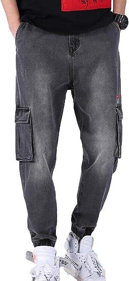 BYWX Mens Loose Cotton Work Hip Hop Cargo Denim Pants Jeans