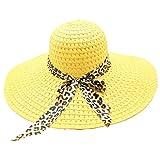 Beach Cap Women Print Two-Side Big Brim Straw Hat Sun Floppy Wide Brim Hats Yellow