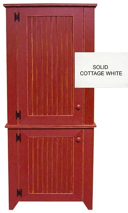 Amazon Com 2 Piece Kitchen Pantry Cabinet Solid Cottage White