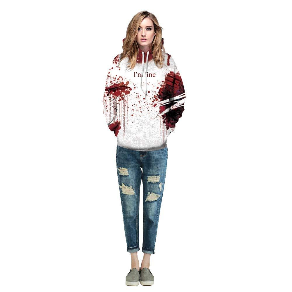 Corriee Unisex Horror Halloween Hoodies Tops Scary Ghost Skeleton Blood 3D Printing Long Sleeve Party Hooded Sweater