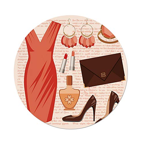 Polyester Round Tablecloth,Heels and Dresses,Accessories Fashion Cocktail Dress Lipstick Earrings High Heels Decorative,Salmon Brown Peach,Dining Room Kitchen Picnic Table Cloth Cover,for Outdoor Ind