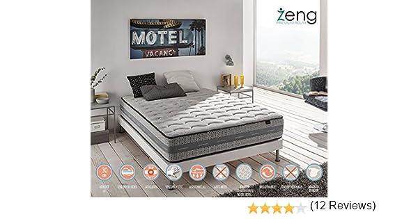 Zeng - Colchón Visco Luxury Imperial con muelles ensacados 140x180x30 cm: Amazon.es: Hogar
