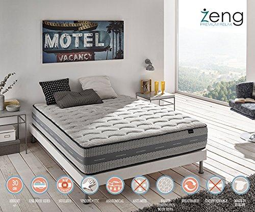 Zeng - Colchón Visco Luxury Imperial con muelles ensacados 105x200x30 cm: Amazon.es: Hogar