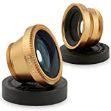 W·Z Universal 3 in 1 Cell Phone Camera Lens Kit - Fish Eye Lens One 2 in 1 Macro Lens and Wide Angle Lens / One Universal Clip / One Microfiber Carrying Bag (3 in 1 Glod)