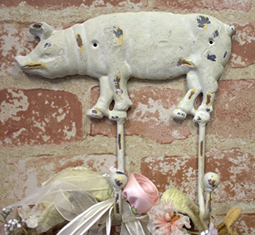 Large Iron Pig Hog Wall Hook ~ Vintage Distressed White Double Coat Hanger