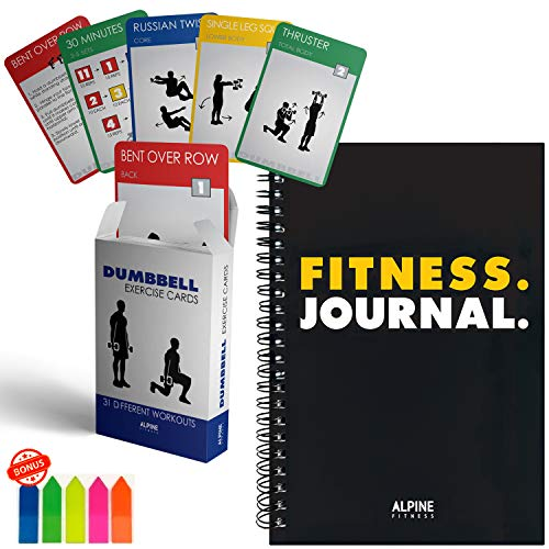 Workout Journal and Dumbbell Exercise Cards - 34 Cards and 26 Week Fitness Planner Log Book
