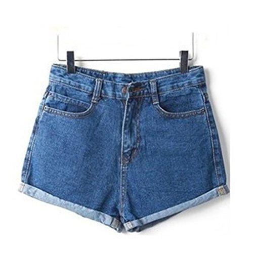 Weigou Women Shorts Slim Fit Denim Shorts Crimping Retro Blue Short Jeans