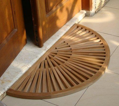 New Grade A Teak Wood 34x17 Sun Burst Door / Shower/ Spa / Bath Floor Mat (Indonesian Teak Garden Furniture)