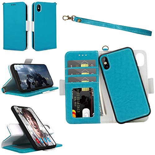 iPhone X Xs Wallet Detachable Case with Wrist Strap, Magnetic Closure, Card Slot, Kickstand - Samgg Luxury Flip Folio Leather Case with Tempered Glass for 5.8 inch iPhone X/iPhone Xs (Blue) (Removable Wrist Strap)