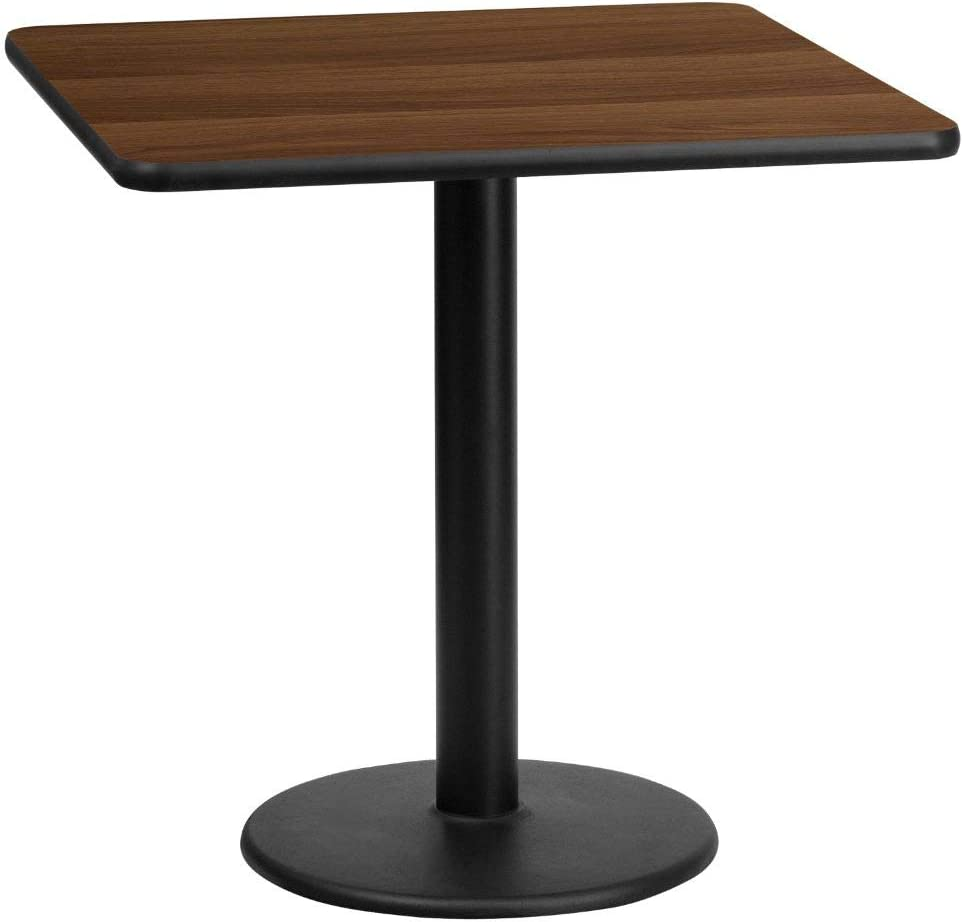 Flash Furniture 24'' Square Walnut Laminate Table Top with 18'' Round Table Height Base