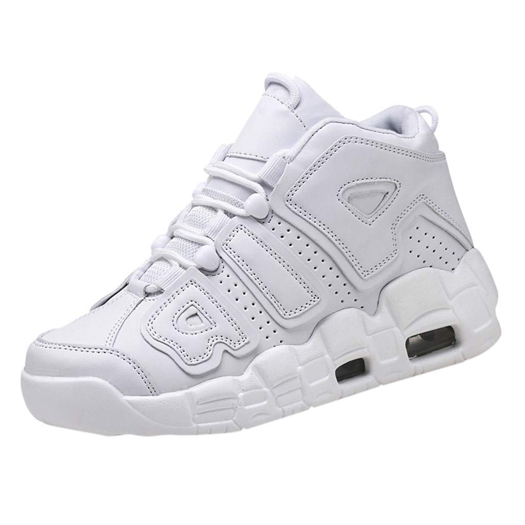 Yomiafy Men's Air Cushion Sneakers Casual Sports Shoes Wearable Comfortable High-Top Basketball Shoes(White,US:7.5)