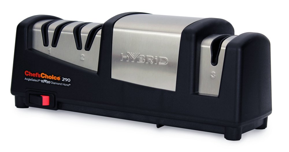 Chef'sChoice 290 AngleSelect Hybrid Diamond Hone Knife Sharpener Combines Electric and Manual Sharpening for Straight and Serrated Knives with Patented Finishing Stage Made in USA, 3-Stage, Black