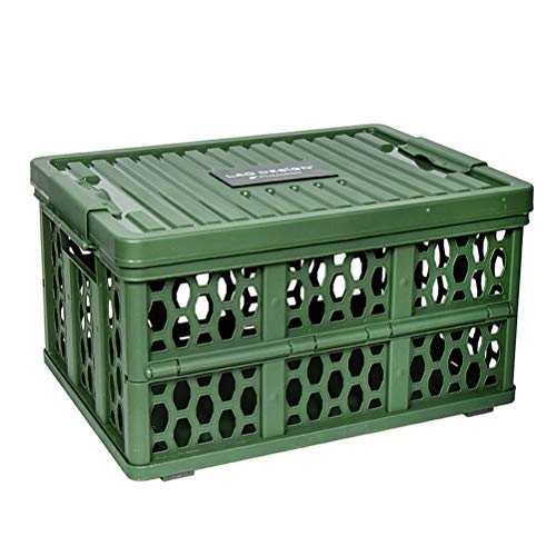 - LRRJJ Office Folding Organizer Box Car Trunk Storage Box Crate Box Space Saving Storage Container Foldable Crate Collapsible Storage Box with Handle for Closet, Home, Nursery Organisers,Green