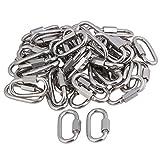 CNBTR M5 304 Stainless Steel Quick Link Screw Lock Ring Carabiner Hook Set of 50