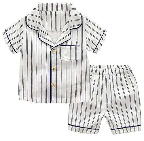 Boys Pajama Set, Striped Pajamas Top + Shorts Set 2 Piece pjs Clothes Outfit for Toddler Little Boys, White, Tag Size 90 = US 18-24M