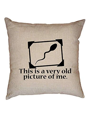 Hollywood Thread Funny Sperm - This Is A Very Old Picture Of Me Decorative Linen Throw Cushion Pillow Case with Insert by Hollywood Thread