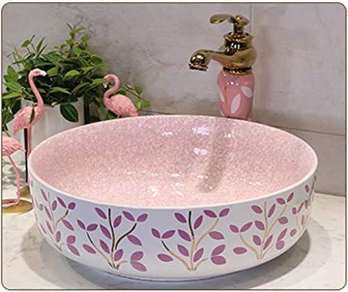 洗面台,手洗い器 壁付け型 陶器 洗面ボール 手洗い器 壁付け型 手洗い鉢 ガラス 手洗い鉢 おしゃれ 洗面ボ 手洗器 楕円形 洗面台 省スペ 室外 ミニ型 (Color : Pink)
