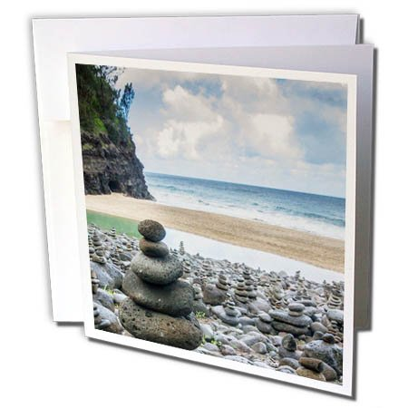 (3dRose Danita Delimont - Beaches - Hawaii, Kauai, Napali, Napali Coast State Park, rock cairns - 1 Greeting Card with envelope (gc_278937_5))