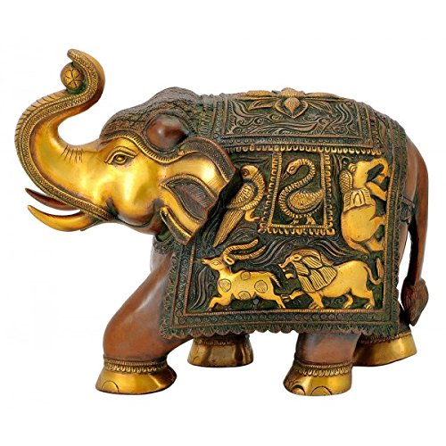 Brass Elephant Decorated (Gangesindia Brass Elephant with Golden Brown Finish)