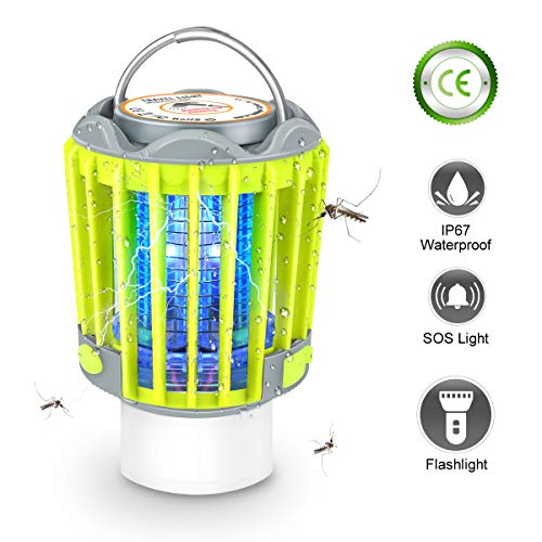 3-in-1 Camping Lantern Bug Zapper Tent Light, Camping Lighting, Bug Zapper Light Bulb, Rechargeable Bug Zapper, Camping Bug Zapper for Camping, Hiking