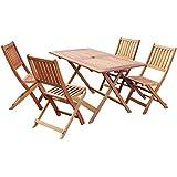 AVANTI TRENDSTORE - Tavolo & 4 sedie pieghevoli in legno tropicale giá trattato, ca. LAP 135x72,5x75 / 46x89x60,5 cm