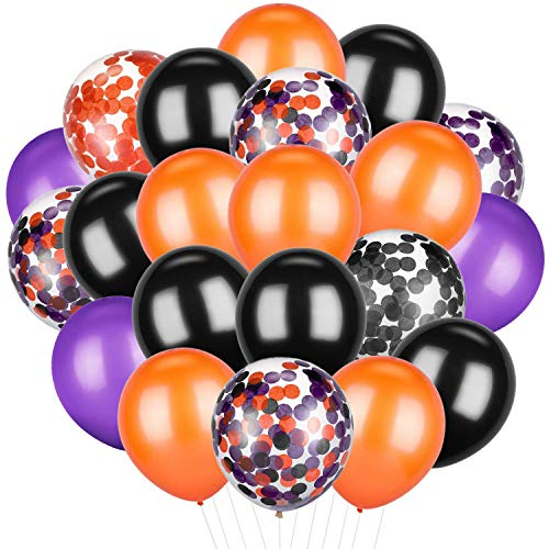 Patelai 50 Pieces Halloween Balloons Orange Black Purple Confetti Balloons Latex Balloons for Party Decoration Supplies, 12 inch