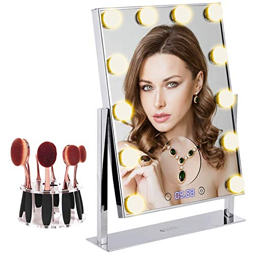 Makeup Mirror Electroplating Process | Large 12 Big Led Bulbs Hollywood Style Vanity Mirror with 5x Magnifier and Clock | Tabletops 10 Hole Oval Makeup Brush Holder Touch Screen Adjustable Brightness